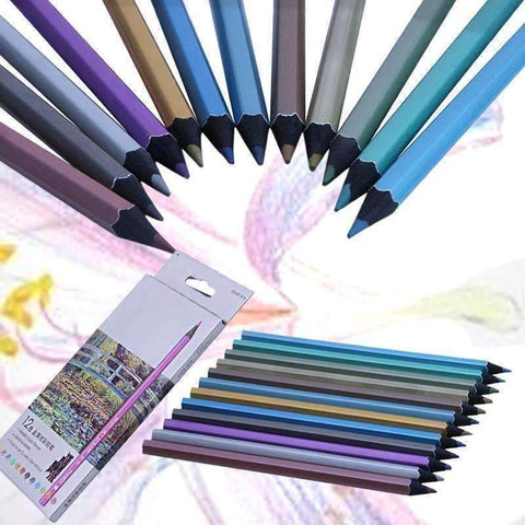 Image of 12 Metallic Color Pencil Set - QuantumBitz 12 Metallic Colored Pencil Non-toxic For Drawing Sketching Set Stationery