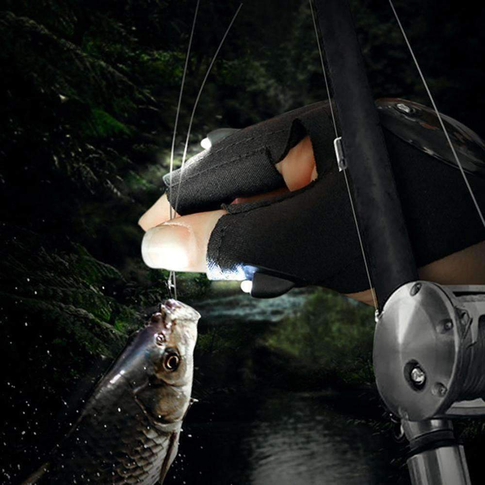 LED Torch Fingerless Fishing Gloves - QuantumBitz