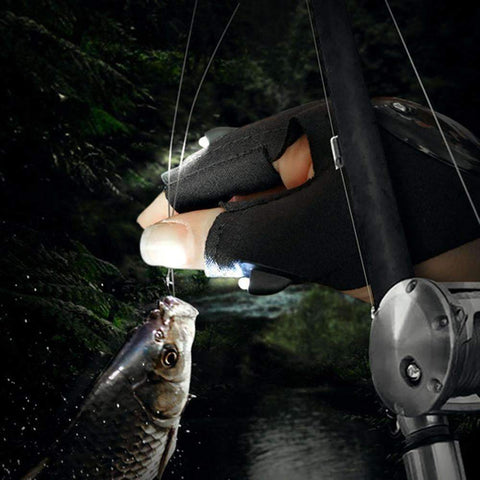 Image of LED Torch Fingerless Fishing Gloves - QuantumBitz