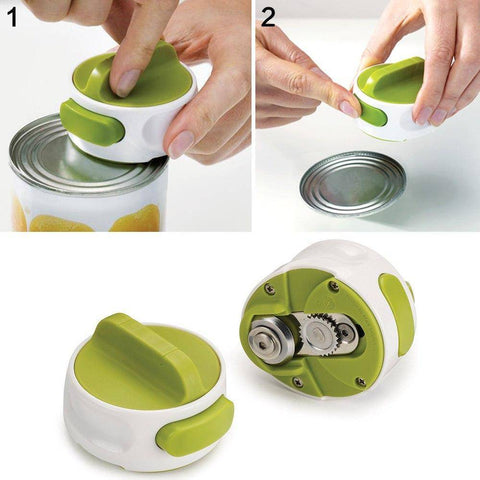 Image of manual can opener kitchen gadget tool space saving stainless steel easy non slip