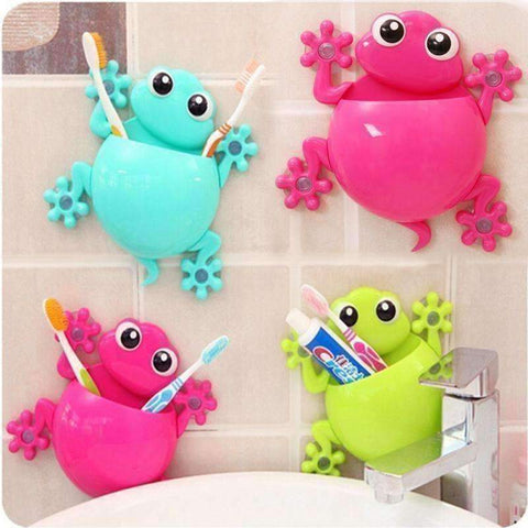 Image of Bathroom 'Frog' Tootbrush Holder - QuantumBitz New Lovely Cartoon Frog Model Toothbrush Toothpaste Holder Sucker Type Toothbrush Holder Bathroom Tool