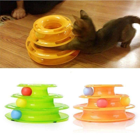 Image of Cat and Ball Track - QuantumBitz New Three Levels Tower Tracks Disc Cat Pet Toy Intelligence Amusement Rides Shelf for Cute Cat