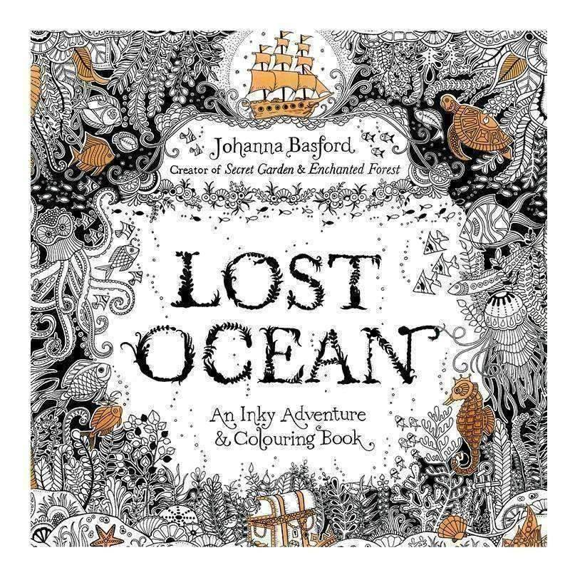 Coloring Book 'Lost Ocean' - QuantumBitz 24 Pages English Lost Ocean Edition Colouring Book for Children Adult Relieve Stress Kill Time Graffiti Painting Drawing Book