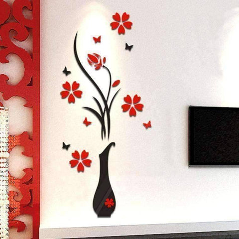 Image of 3D Flower Vase Acrylic Wall Sticker - QuantumBitz DIY Vase Flower Tree Crystal Acrylic 3D Wall Stickers Decal Home room Decals Wall Art Sticker wallpaper vinilos infantiles 2018