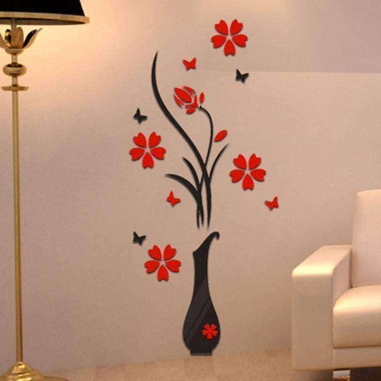 3D Flower Vase Acrylic Wall Sticker - QuantumBitz DIY Vase Flower Tree Crystal Acrylic 3D Wall Stickers Decal Home room Decals Wall Art Sticker wallpaper vinilos infantiles 2018