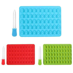 Image of 50 Gummy Bear Silicone Tray with Dropper