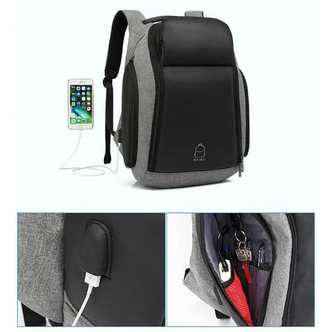 Image of BAIBU Men 17 inch Laptop Anti-theft Backpack Water Repellent Multifunct Rucksack with USB Charging Port Travel Backpacks Male