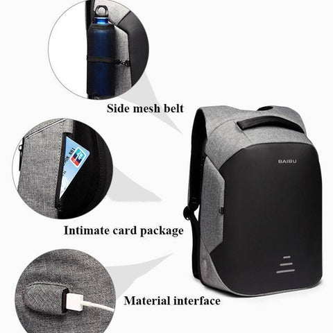 "BAIBU Men Multifunction Backpack Anti-theft 15.6"" Laptop Backpack USB Charging Women waterproof Business Large Travel Backbag"