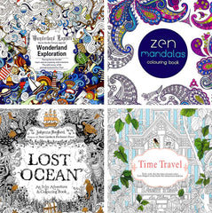 Four Coloring Books for Adults