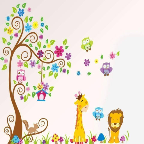 Animal Tree Wall Vinyl Sticker - QuantumBitz Cartoon Animal Tree wallpaper for kids rooms adesivo de parede vintage child vinyl wall sticker home decor decoration