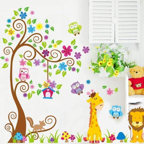 Image of Animal Tree Wall Vinyl Sticker - QuantumBitz
