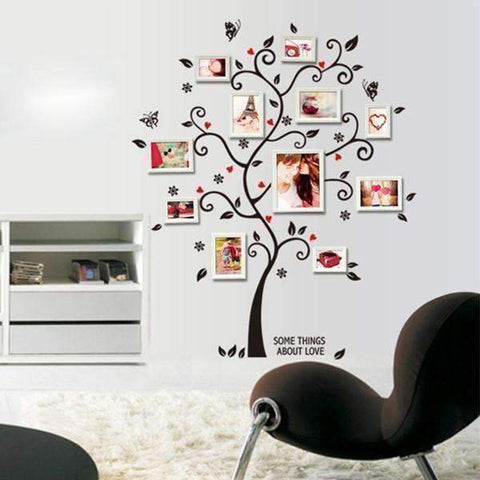 Image of Chic Family Tree Wall Vinyl Sticker - QuantumBitz Chic Black Family Photo Frame Tree Butterfly Flower Heart Mural Wall Sticker Living Room Decals