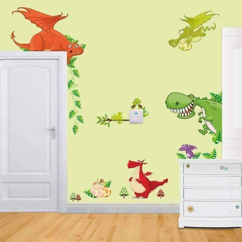 Image of Cute Animal and Dinosaur Wall Vinyl Sticker - QuantumBitz
