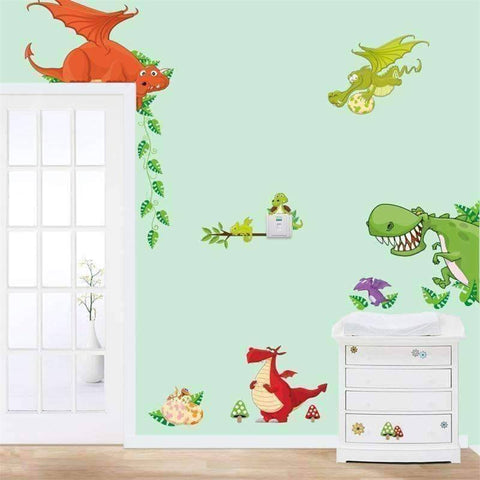Cute Animal and Dinosaur Wall Vinyl Sticker - QuantumBitz