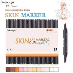 12 Skin Tone Double Headed Artist Pens - QuantumBitz Dainayw 12 Colors Sketch Skin Tones Marker Pen Artist Double Headed Alcohol Based Manga Art Markers for School Supplies