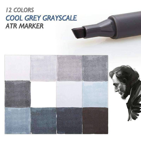 12 Cool Gray Color Double Headed Artist Pens - QuantumBitz Dainayw 12 Cool Grey Colors Marker Pen Grayscale Dual Head Art Markers Set for Manga Design Drawing School Student Supplies