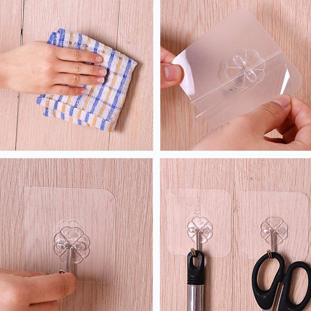 Wall Transparent Hook Clear Resusable Seamless No Scratch Waterproof Multi-Purpose Hooks For Bathroom Kitchen