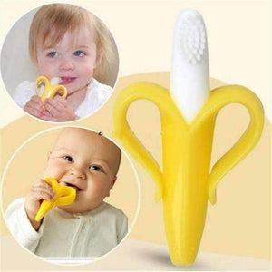 Baby Banana Brush Teether Toothbrush - QuantumBitz High Quality Silicone Toothbrush And Environmentally Safe Baby Teether Teething Ring Kids Teether Children Chewing