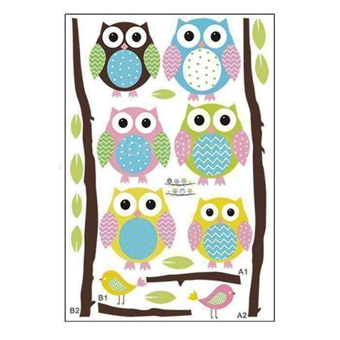 Image of Colorful 6 Owls Branch Wall Vinyl Stickers - QuantumBitz
