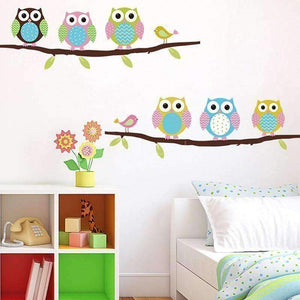 Colorful 6 Owls Branch Wall Vinyl Stickers - QuantumBitz Home DIY Removable Colorful Six Owls Bird Branch Vinyl Decal PVC Wall Mural Sticker 3D Wallpaper decoration