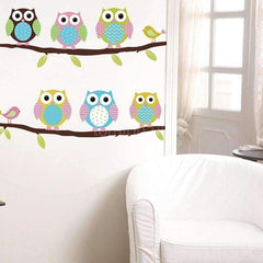 Colorful 6 Owls Branch Wall Vinyl Stickers