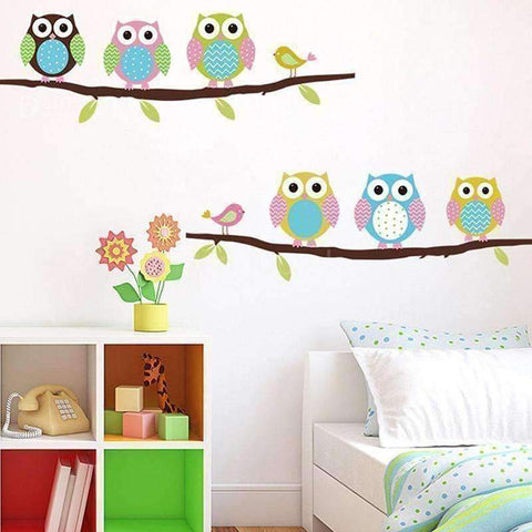 Image of Colorful 6 Owls Branch Wall Vinyl Stickers - QuantumBitz Home DIY Removable Colorful Six Owls Bird Branch Vinyl Decal PVC Wall Mural Sticker 3D Wallpaper decoration