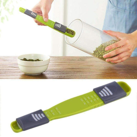 Image of Amazing Measuring Spoon - QuantumBitz Home Practical Green ABS Double End Eight Stalls Adjustable Scale Measuring Spoons Metering Spoon Kitchen Tools