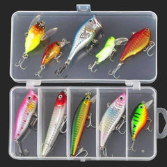 Multi Fishing Lure Tackle Box - Plastic Lures 10pcs - QuantumBitz