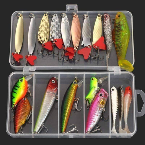 Multi Fishing Lure Tackle Box - Complex Lures 19pcs - QuantumBitz