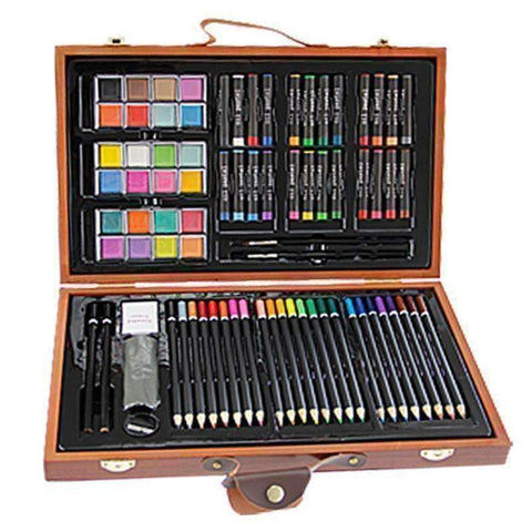 Image of 84pc Artist Wooden Box Set - QuantumBitz  New Stylish 84pcs Children Painting Set Drawing Brush Elementary Water Color Pen Art Markers Wood Box Set