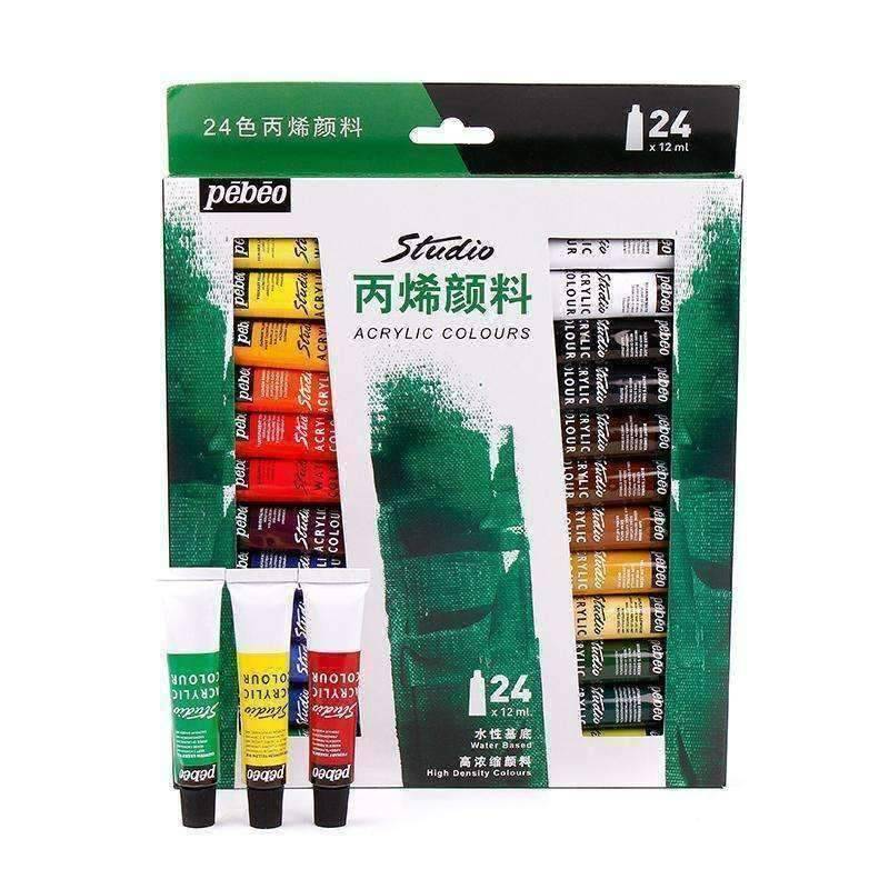 24 Acrylic Textile Paints - QuantumBitz Pebeo 24 Colors Paste Acrylic Paints Set 12ml Hand Painted Wall Drawing Artist Acrylic Painting Pigment Studio Set Art Supplies