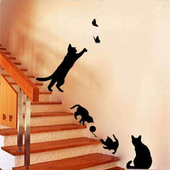 Cat Vinyl Wall Stickers - QuantumBitz Staircase Cats Wall Sticker Vinyl Home Decor DIY wall stickers for kids rooms wall decals Child's room stickers muraux