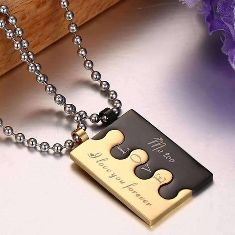 Image of Couples Black and Gold Necklace - QuantumBitz