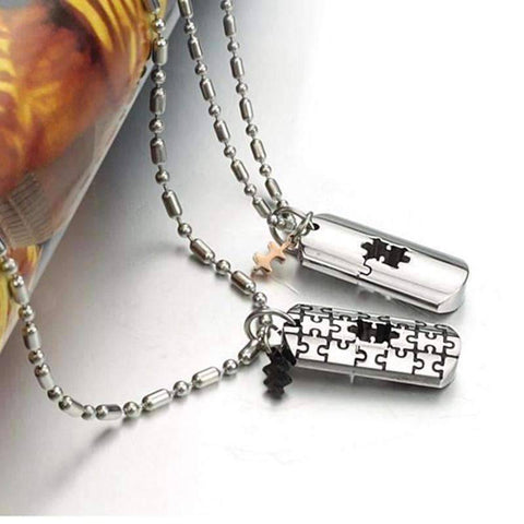 Image of Couples Matching Puzzle Necklace - QuantumBitz