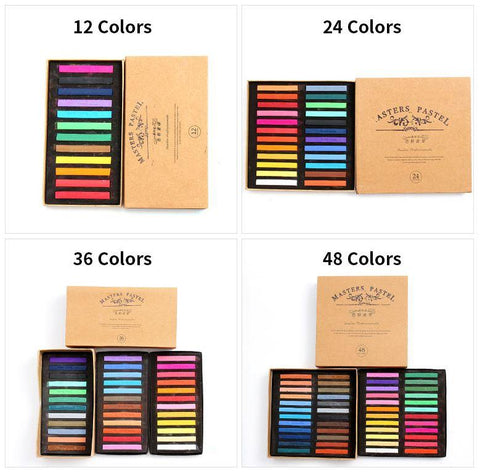 24 Color Soft Pastel Crayon Set - QuantumBitz Marie's Painting Crayons Soft Pastel12/24/36/48 Colors/Set Art Drawing Set Chalk Color Crayon Brush Stationery for Students