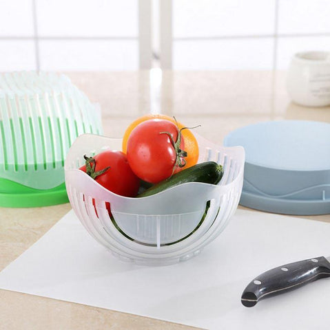 Image of 60 Second Salad Maker - QuantumBitz 60 Seconds Salad Cutter Bowl Easy Salad Maker Tools Fruit Vegetable Chopper Kitchen Tool Gadgets Cutter kitchen Accessories