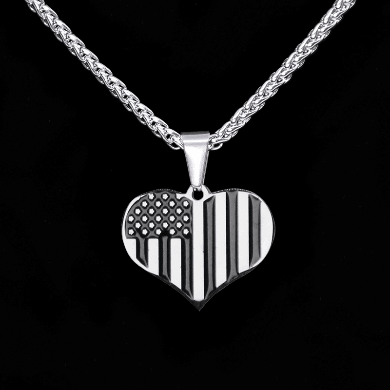 american necklace man pendant fire gold white flag