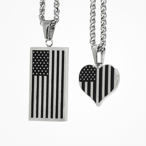 Image of American Flag Necklace - QuantumBitz American Flag,USA Patriot Freedom Stars and Stripes Dog Tag Pendant Necklace,Gift,Men Jewelry,Gold Color Stainless Steel