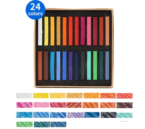 Image of 24 Color Soft Pastel Crayon Set - QuantumBitz Marie's Painting Crayons Soft Pastel12/24/36/48 Colors/Set Art Drawing Set Chalk Color Crayon Brush Stationery for Students