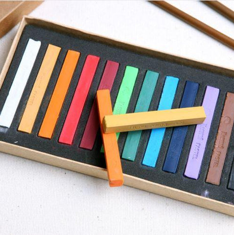 Image of 48 Color Soft Pastel Crayon Set - QuantumBitz Marie's Painting Crayons Soft Pastel12/24/36/48 Colors/Set Art Drawing Set Chalk Color Crayon Brush Stationery for Students
