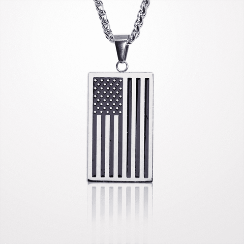 American Flag Necklace - QuantumBitz American Flag,USA Patriot Freedom Stars and Stripes Dog Tag Pendant Necklace,Gift,Men Jewelry,Gold Color Stainless Steel