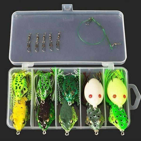 Multi Fishing Lure Tackle Box - Frog Lure 10pc - QuantumBitz