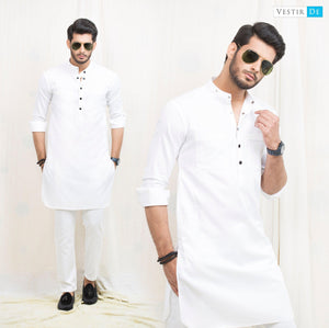 White Plain Cotton Kurta