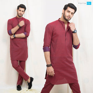 Chambray Red Cotton Kurta