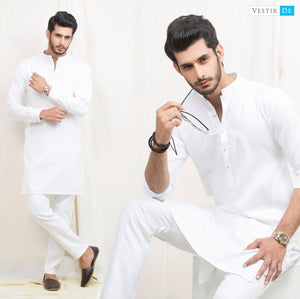 White Egyptian Textured Cotton Kurta