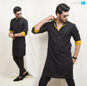 Black Textured Cotton Kurta
