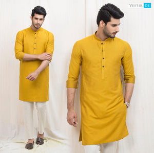 Mustard Textured Cotton Kurta - Vestir De