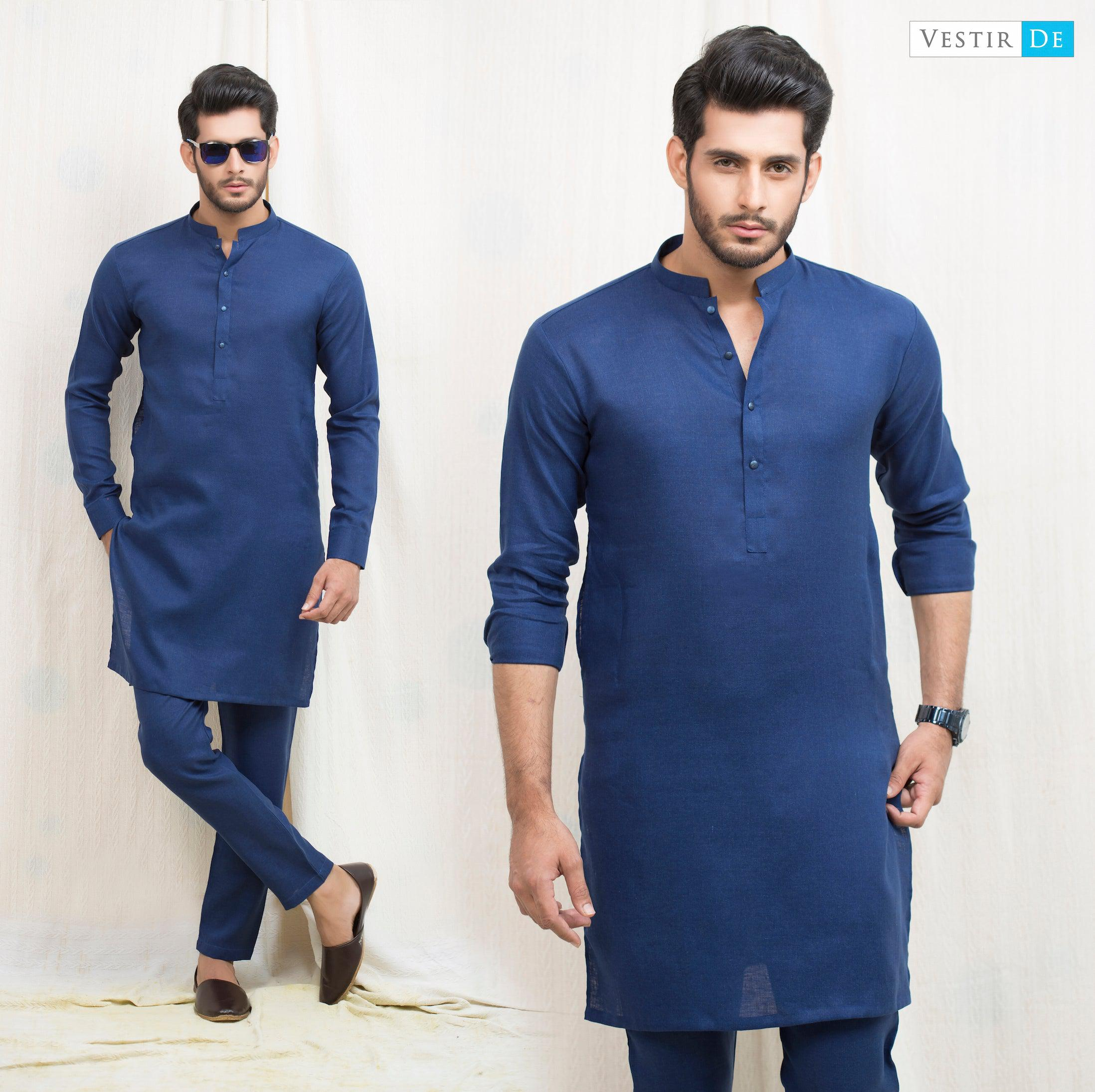 Royal Blue Irish Cotton Kurta - Vestir De