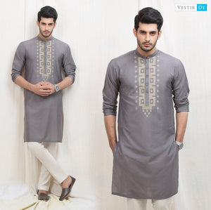 Grey Embroidery Cotton Kurta