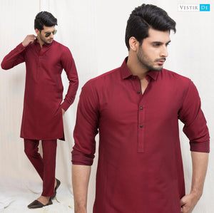 Red Textured Cotton Kurta